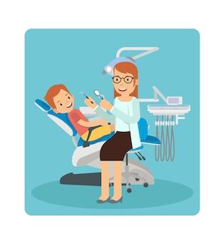 Um, mulher, odontólogo, examinando, um, jovem, menino, dentes