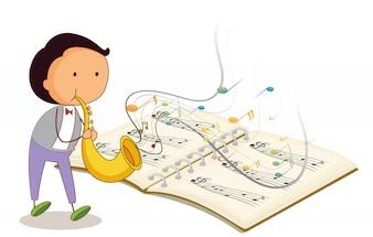 Um músico segurando uma trombeta com um caderno musical