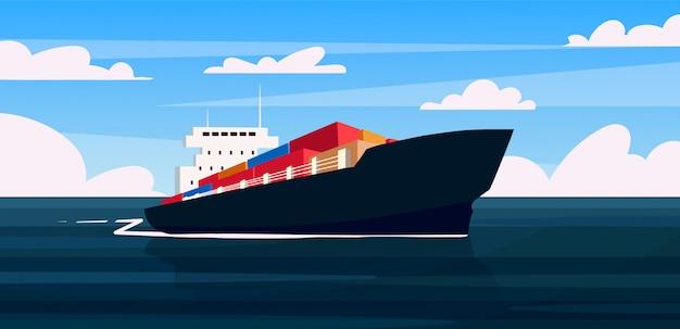 Um navio de carga está carregando contêineres com mercadorias. navio mercante