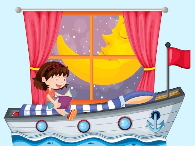 Um navio dentro da casa com uma garota lendo