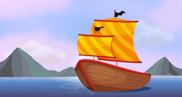 Um navio no oceano