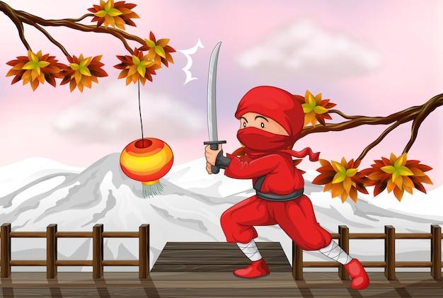 Um ninja vermelho com uma espada na ponte de madeira