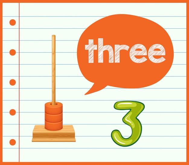 Um número de cartão de aprendizagem de matemática três