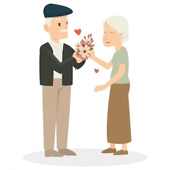 Um oldman dar um presente para sua esposa no dia dos namorados