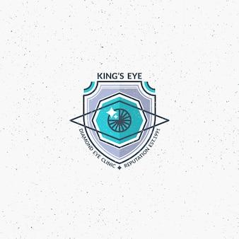 Um olho e um símbolo de identidade corporativa de escudo.