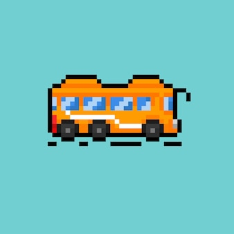 Um ônibus escolar com estilo pixel art