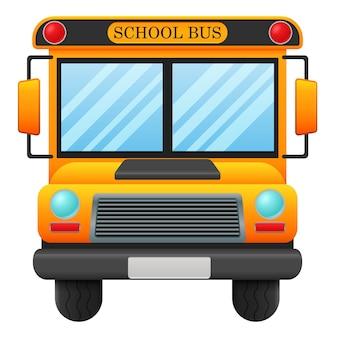 Um ônibus escolar no fundo branco