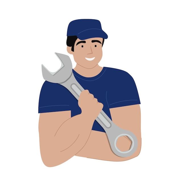Um operário uniformizado, um técnico, um especialista, um reparador segura uma chave inglesa.