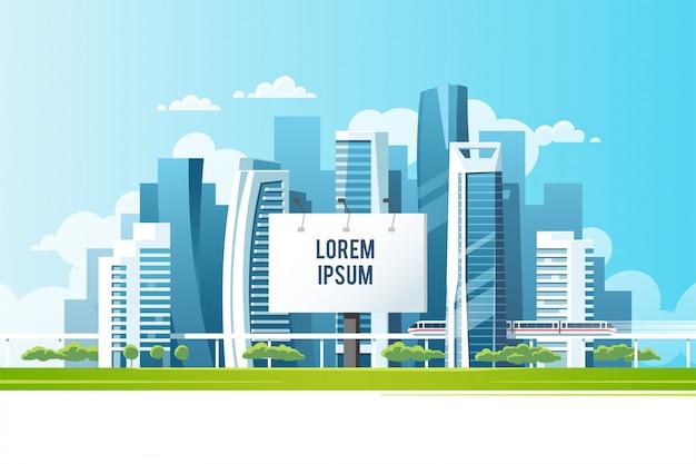 Um outdoor de uma grande cidade para colocar sua publicidade contra o pano de fundo de uma paisagem urbana com arranha-céus, metrô e árvores. ilustração.