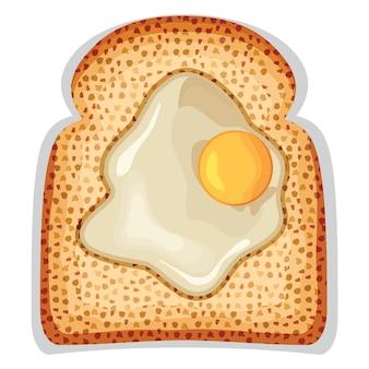 Um ovo estrelado frito de torrada crocante