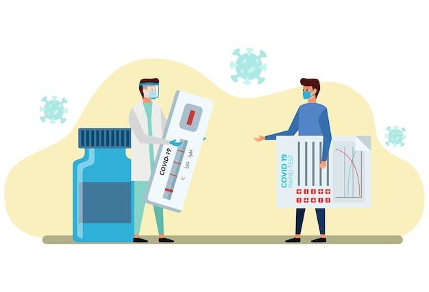 Um paciente carrega os resultados de um teste rápido administrado por um médico