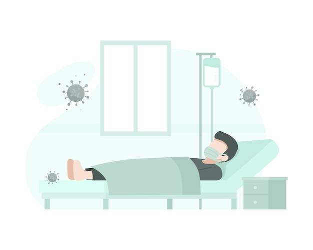 Um paciente é hospitalizado por causa do coronavírus