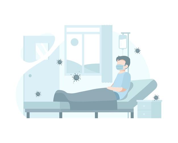 Um paciente é tratado e colocado em quarentena no hospital para tratar e prevenir a transmissão de coronavírus