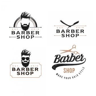Um pacote de barbearia logotipo vintage, estilo moderno