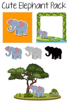 Um pacote de elefante fofo