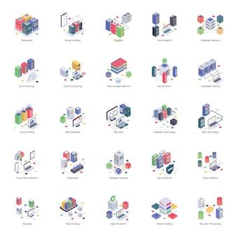 Um pacote de ilustrações isométricas do servidor de banco de dados