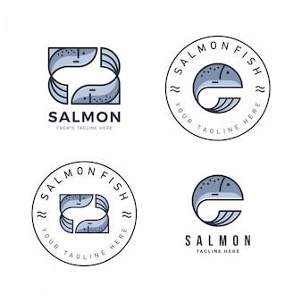Um pacote de logotipo de salmão com um estilo simples e moderno
