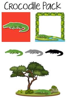 Um pacote de personagem de crocodilo