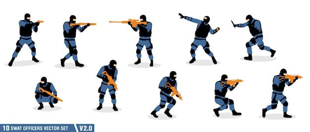 Um pacote de silhueta dos oficiais swat
