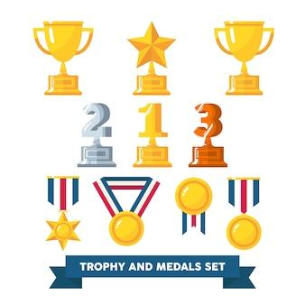 Um pacote de troféus e medalhas no design de arte plana