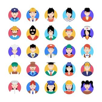 Um pacote incrível de avatar profissional, este pacote de ícones planas está facilitando você com seu estilo editável