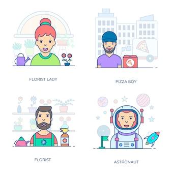 Um pacote incrível de pessoas profissionais, este pacote de ícones planas está facilitando você com seu estilo editável.
