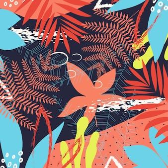 Um padrão abstrato tropical de tendência com folhas brilhantes e plantas em um fundo escuro