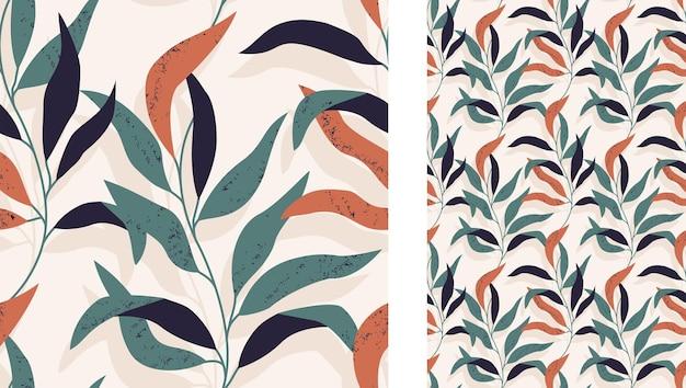 Um padrão abstrato tropical sem costura com ramos de folhas em fundo bege