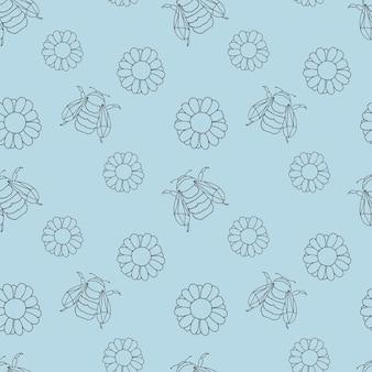 Um padrão com flores gerbera ou margarida e abelhas em um fundo azul.