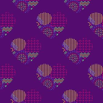 Um padrão contínuo com corações abstratos de repetição