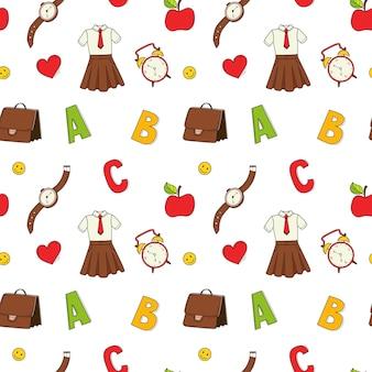 Um padrão de escola sem costura simples com itens de escola. fundo colorido do vetor do doodle
