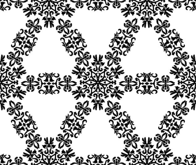 Um padrão de ornamento redondo preto em um fundo branco padrão decorativo sem costura estampado