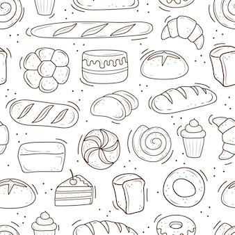 Um padrão de produtos assados desenhados no estilo de bolo de pão preto e branco doodle