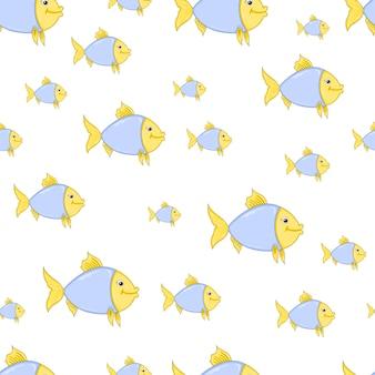 Um padrão de um peixe de desenho animado. papéis de parede para crianças.