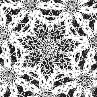 Um padrão quadrado preto e branco com árvores