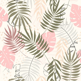 Um padrão sem emenda abstrato de tendências com folhas tropicais