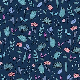 Um padrão sem emenda com rabiscos desenhados à mão de flores e plantas