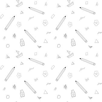 Um padrão sem emenda de escola com um lápis, uma casa, uma flor desenhada em um estilo infantil. preto branco