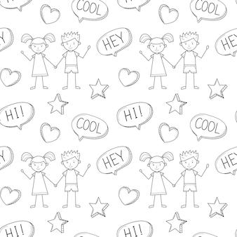 Um padrão sem emenda de escola com um lindo menino e uma menina desenhada em um estilo infantil. fundo branco preto