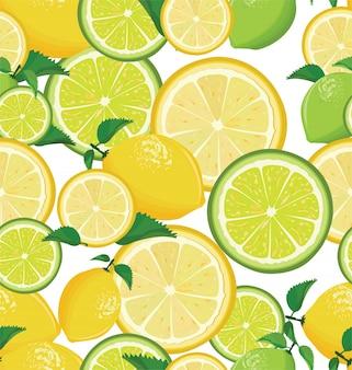 Um padrão sem emenda de limão e limão no fundo branco