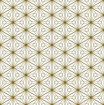 Um padrão uniforme baseado em elementos do tradicional artesanato japonês kumiko zaiku. linhas de cor dourada.