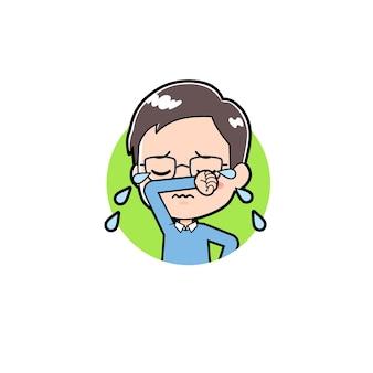Um pai com um gesto de choro de ícone.