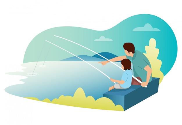 Um pai e seu filho estão pescando peixes do lago.