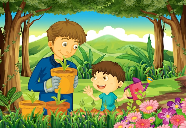 Um pai e um filho na floresta regar as plantas