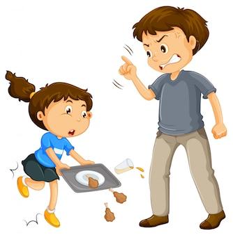 Um pai queixar-se de uma criança