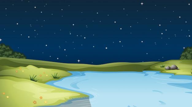 Um, paisagem natureza, fundo, à noite