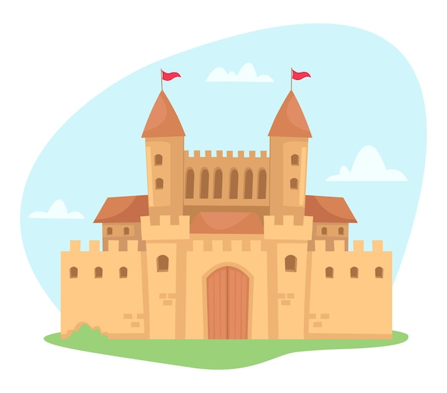Um palácio luxuoso em um conto de fadas isolado no branco