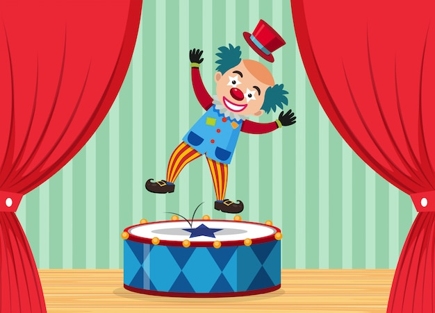 Um palhaço de circo no palco