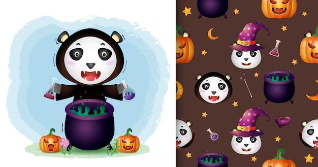 Um panda bonito com coleção de personagens de halloween de fantasia de bruxa padrão sem emenda e desenhos de ilustração