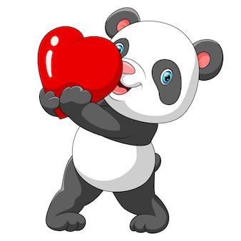 Um panda bonito com um coração vermelho